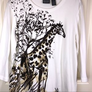 Chico's White Knit Top Giraffe Print sz XL